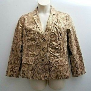 Chico's Animal Print Jacket Sz 2/L Tan Gold Shine